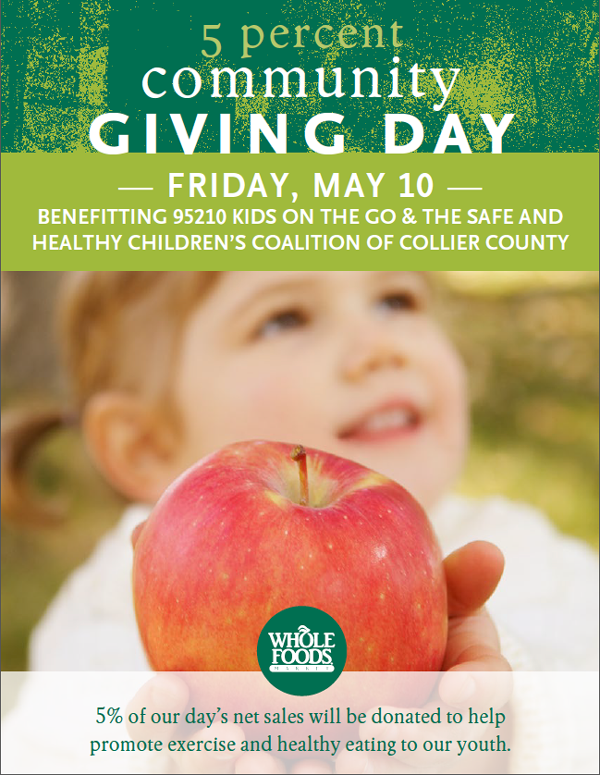 Whole Foods Market -5% Percent Community Giving &#8211; Friday, May 10th.