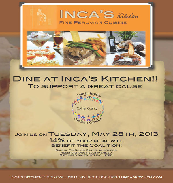 Tuesday, May 28th Dine at Inca's Kitchen to Support our Coalition!
