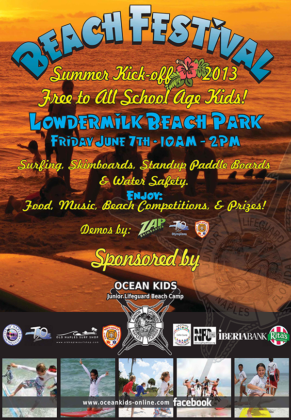 Beach Festival – Friday, June 7th, 10:00 a.m. – 2:00 p.m. at Lowdermilk Beack Park
